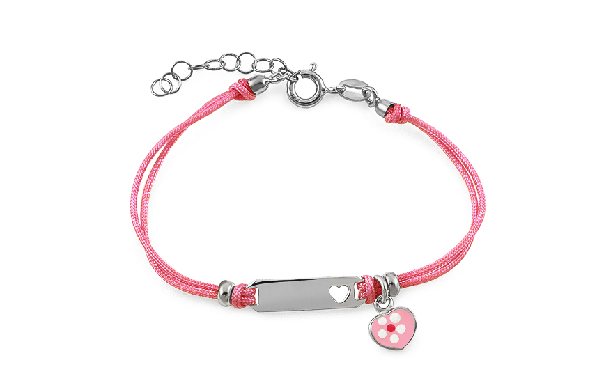 Silver pink cord baby bracelet Heart with plate - IS2155