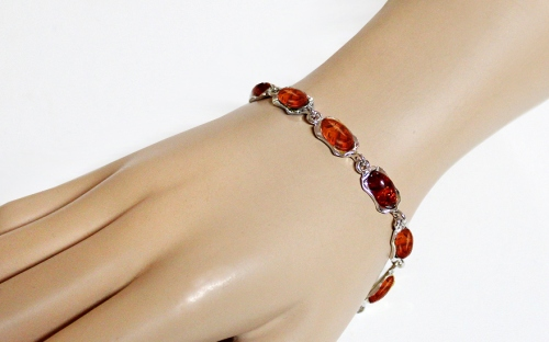 Silver Bracelet with Amber - IS2028N