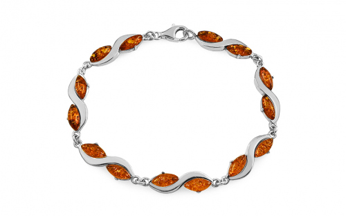 Silver Bracelet with Amber  - IS2867