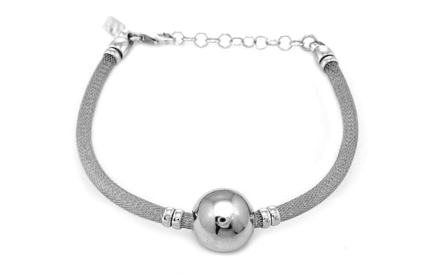 Rhodium plated Silver bracelet with ball design