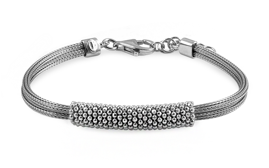 Silver bracelet with glittering beads - IS1846N