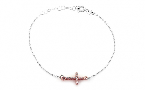 Sterling Silver bracelet with gold plated cross