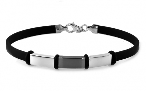 Silver bracelet with black rubber