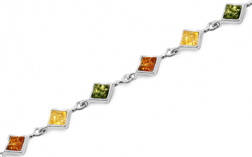 Silver bracelet with tri-color amber - IS4136