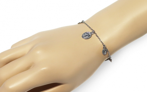 Silver bracelet with charm of Virgin Mary - IS3730N