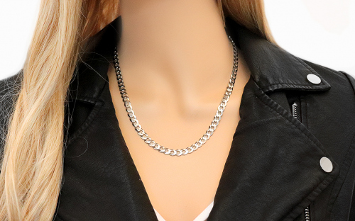 Rhodium plated Silver chain armor design - IS237