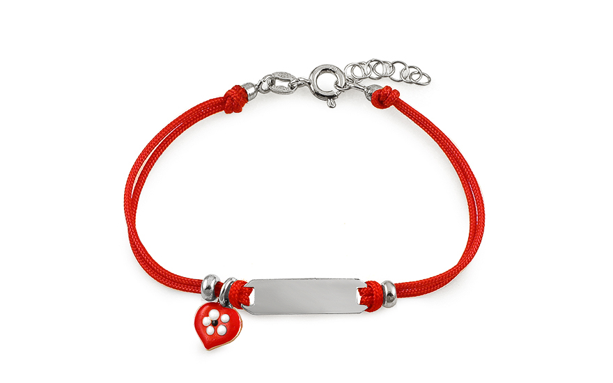 Silver childrens red string bracelet Heart and plate - IS2438