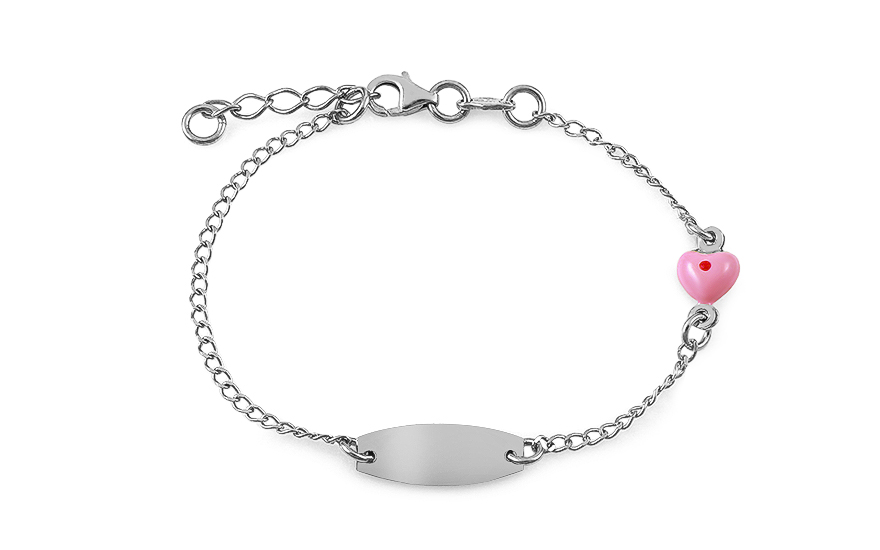 Silver children's bracelet with plate and heart - IS2548