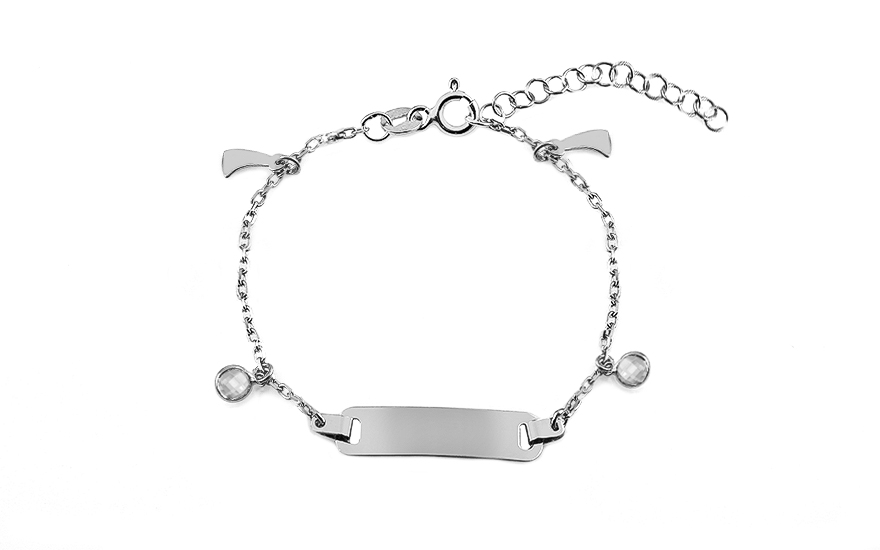 Silver children's bracelet with plate and pendants - IS3518