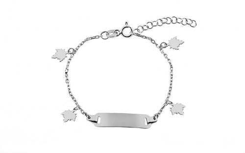 Silver children's bracelet with plate and leaves - IS3516