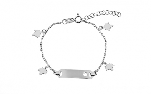 Silver children's bracelet with plate and leaves - IS3523