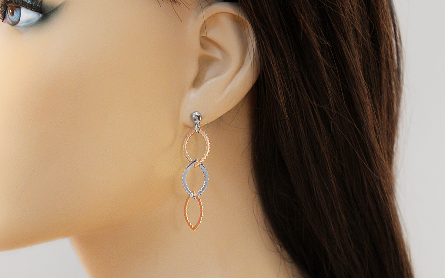 Silver dangling earrings with rose gold-plating - IS2378R