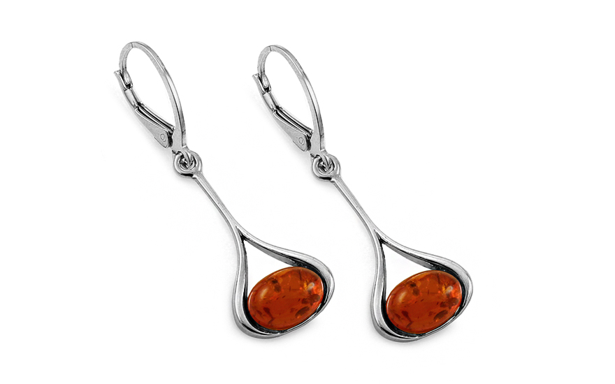 Silver Drop Earrings with Amber - IS2040