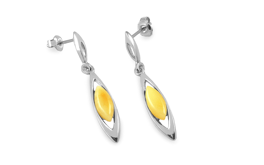 Silver Drop Earrings with Amber - IS2848Z