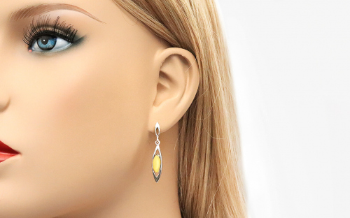 Silver Drop Earrings with Amber - IS2848Z - on a mannequin