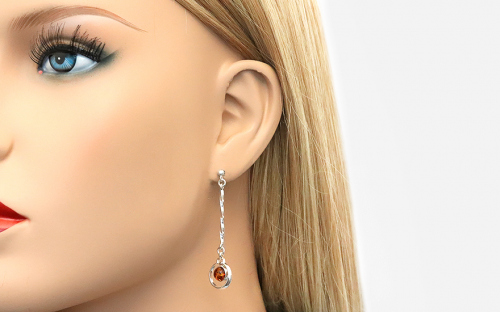 Silver Drop Earrings with Amber  - IS2689