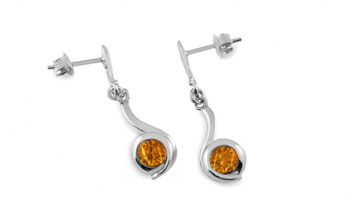 Silver Drop Earrings with Amber  - IS2828