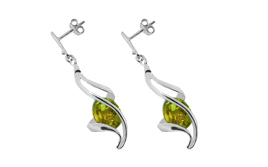 Silver Drop Earrings with Amber  - IS4015