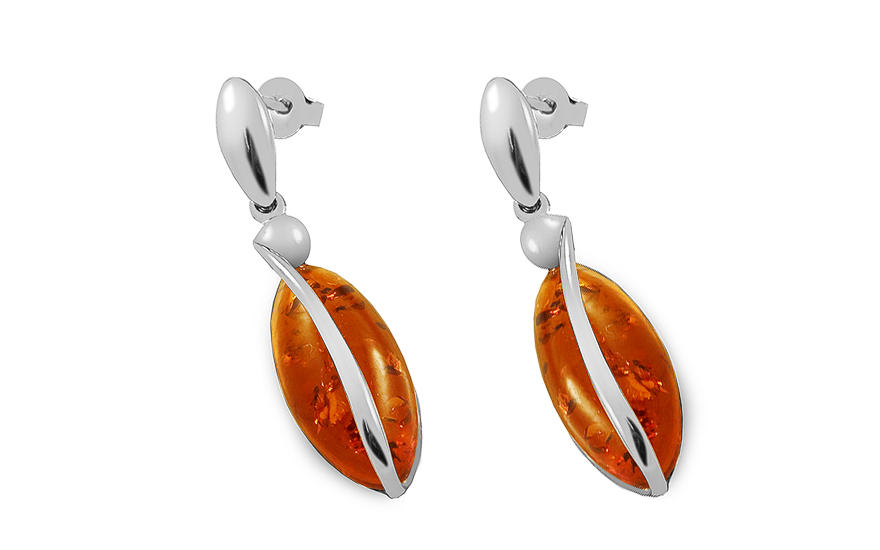 Silver Drop Earrings with Amber  - IS4031