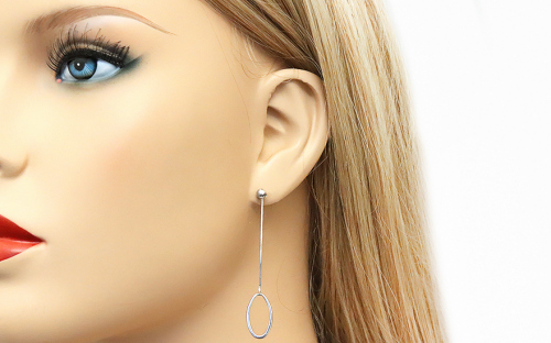 Rhodium plated Silver earrings dangling ellipse - IS619NA