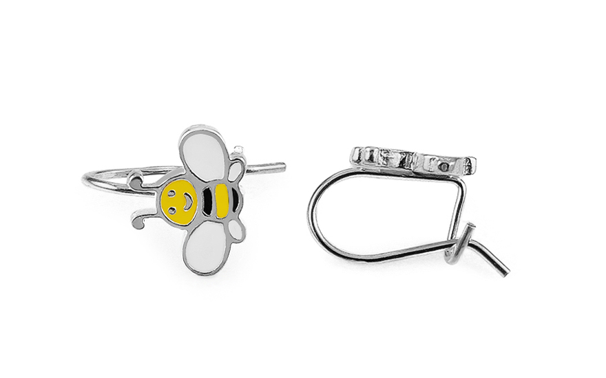 Silver Kids Bee Earrings - IS2174V