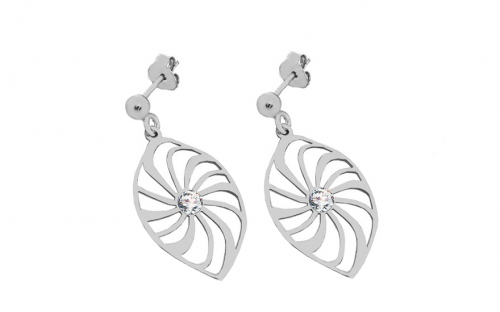 Silver earrings flower with cubic zirconia 2 - IS358AS
