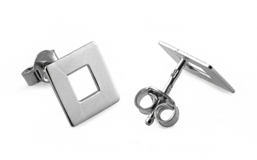 Rhodium plated Sterling Silver earrings squares - IS537