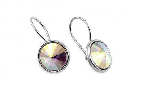 Silver earrings with rainbow crystals - IS3187
