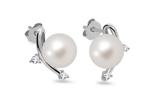 Rhodium plated 925Sterling Silver earrings with white pearl - IS880P