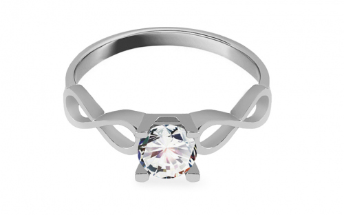 Silver engagement ring with zircon - IS3987
