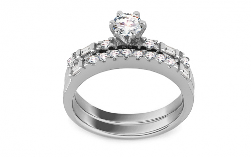 Silver engagement ring set with zircons - IS3658