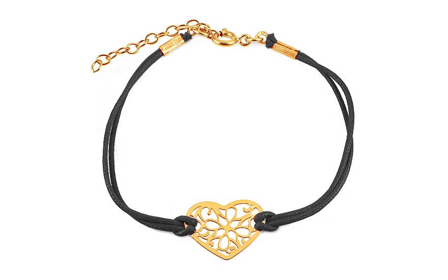 Gold plated Silver black cord Heart bracelet - IS1773Y