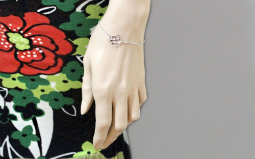 Silver Heart Bracelet - IS1363 - on a mannequin