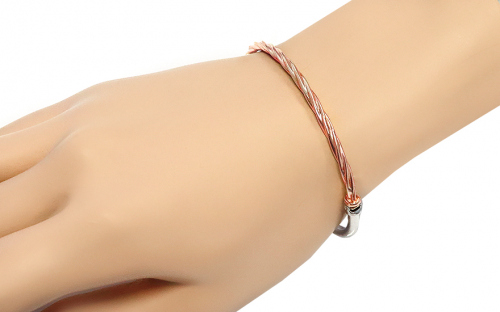 Silver hoop bracelet with rose gold-plated - IS354R