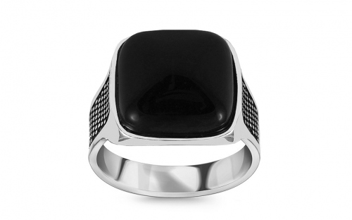Silver men's ring with black stone - IS2986