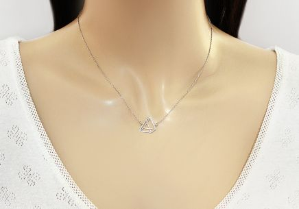 Silver Pyramid Necklace - IS2083