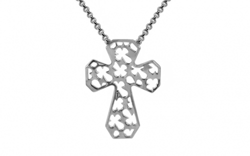 Silver cross necklace - IS1345A