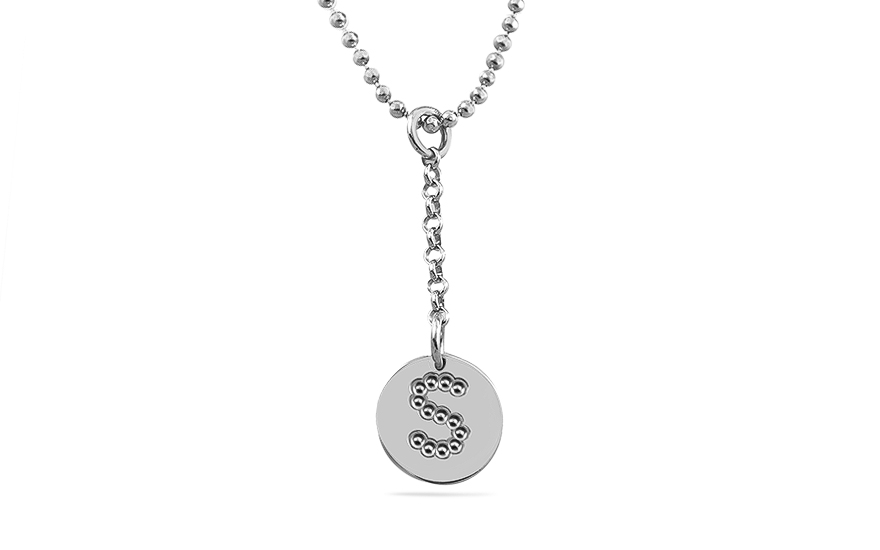 Rhodium plated Sterling Silver chain with pendant Letter S - OZC312