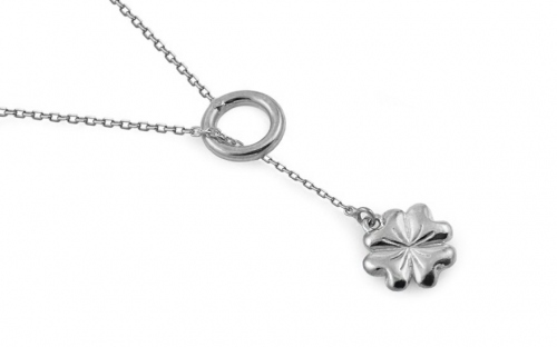 Rhodium plated Sterling Silver necklace with a flower pendant - IS1505AR