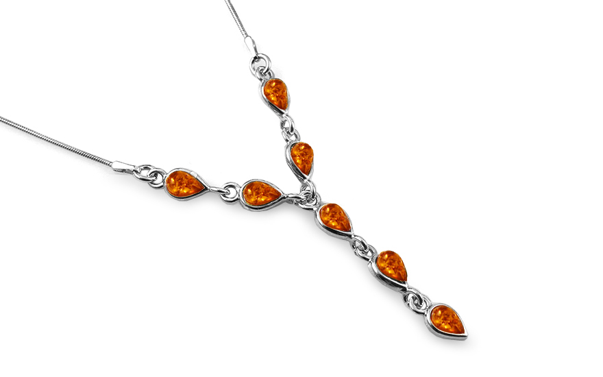 Silver necklace with amber - IS2066NR