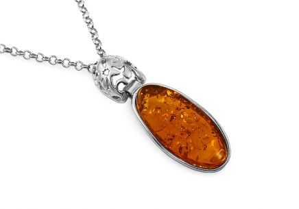 Silver necklace with amber - IS2642