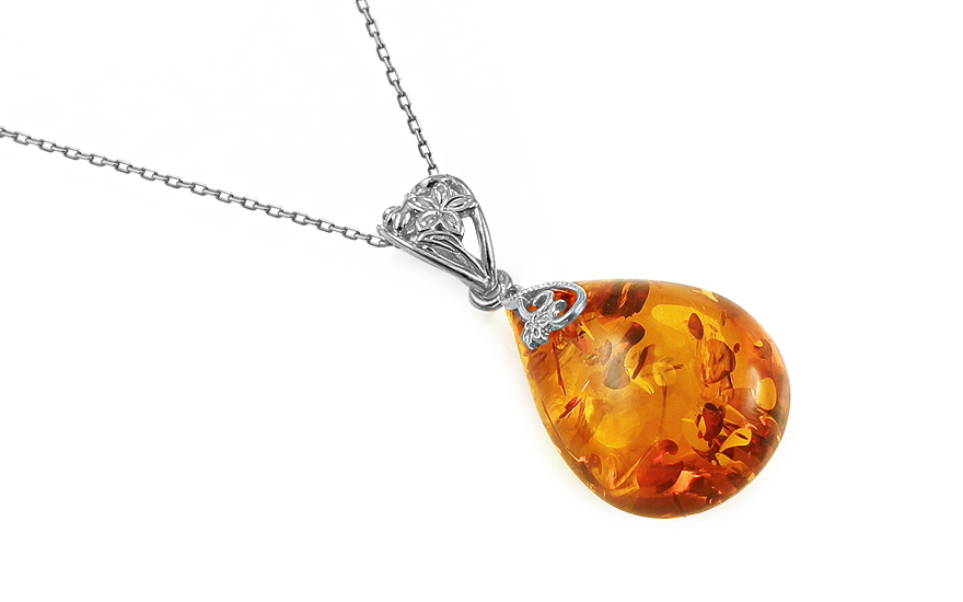 Silver necklace amber drop - IS1989M