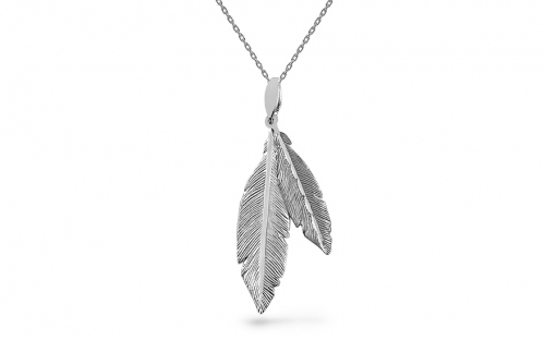 Sterling Silver necklace with black feathers - IS1245B