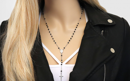 Silver necklace with black stones of rosary - IS3748