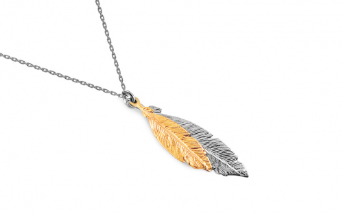 Sterling Silver necklace with feathers - IS2709
