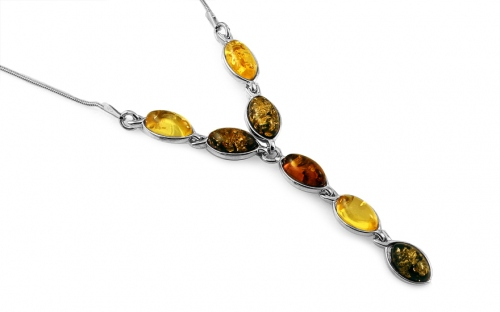 Silver necklace with three-tone amber - IS2064NR