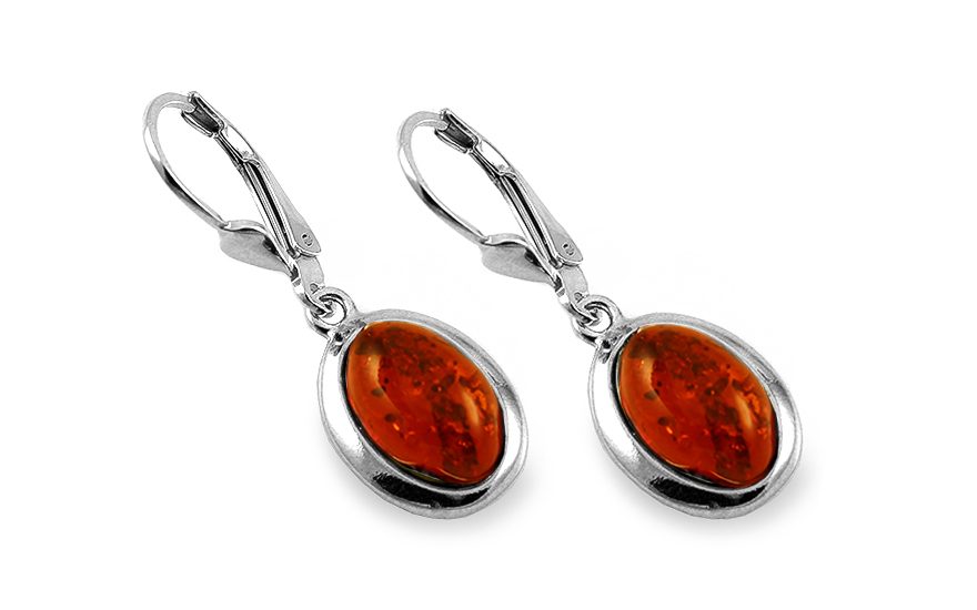 Silver oval hanging earrings with amber - IS2049