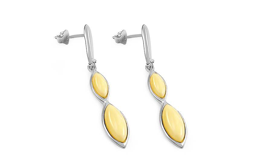 Silver pendant earrings with yellow amber - IS2673