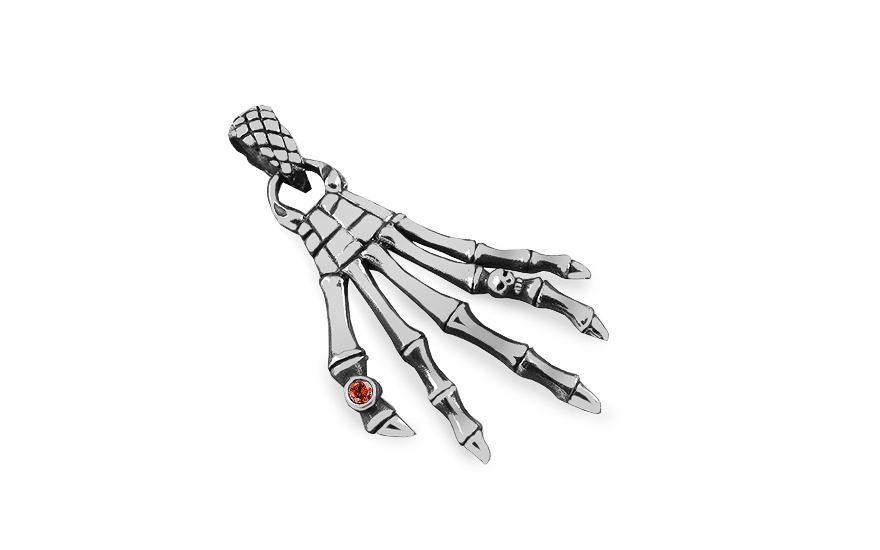 Silver pendant of skeleton fingers - IS3110