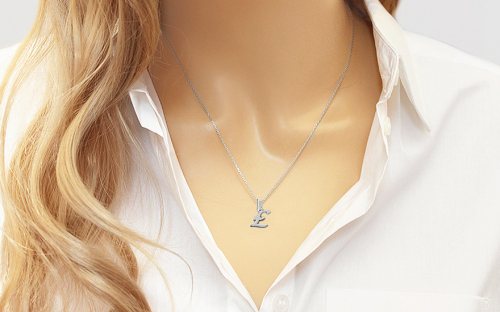Rhodium plated 925Sterling Silver Pendant the letter E - IS780E